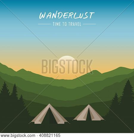 Camping Adventure In The Wilderness Tent In The Forest At Mountain Landscape Vector Illustration Eps