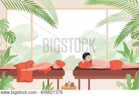 Couple Relaxing In Massage Salon Vector Flat Illustration. Wellness Resort, Body Relaxing Treatment,