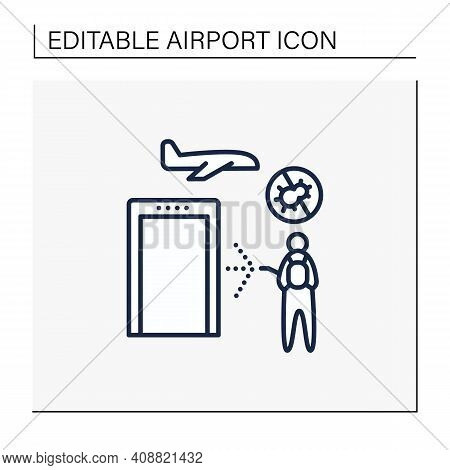 Sanitization Airport Line Icon. Disease Prevention. Biosafety Worker Disinfect Airport. Mandatory Pr