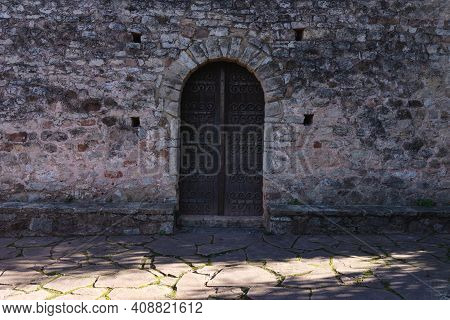 Old Medieval Door Of Abandoned House, Interesting Old Vintage Design Of A Front Door, Very Old House