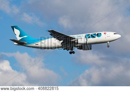 Istanbul, Turkey - March 30, 2019: Mng Airlines Airbus A300 Tc-mnv Cargo Plane Arrival And Landing A