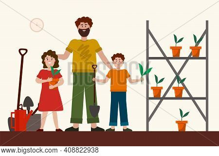 Father With Children In The Garden. Vector Concept Of The Family And Creating A Home Vegetable Garde