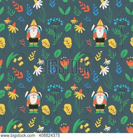 Seamless Vector Pattern With Bearded Gnomes, Elves, Plants, Leaves And Flowers On Dark Background