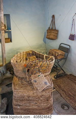 Anegundi, Karnataka, India - November 9, 2013: Lepakshi Handicrafts Non-profit. Finished Banana-fibe