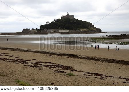 St Michael's Mount (england), Uk - August 16, 2015: A View Of St Michael's Mount, Cornwall, England,