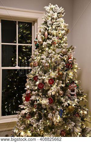 A Beautiful Tall Christmas Tree At Home