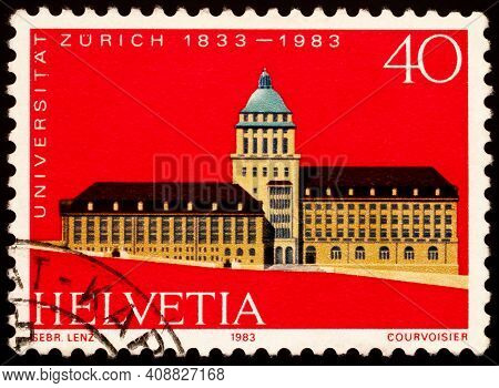 Moscow, Russia - February 16, 2021: Stamp Printed In Switzerland Shows University Building In Zurich