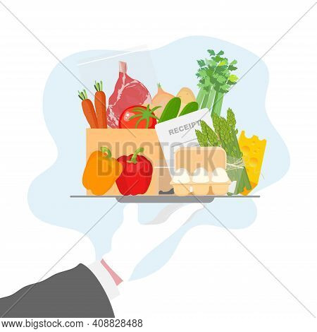 Meal Kit Delivery Vector Illustration Concept In Cartoon Style. Meal Kit Safe Delivery Concept. Meal