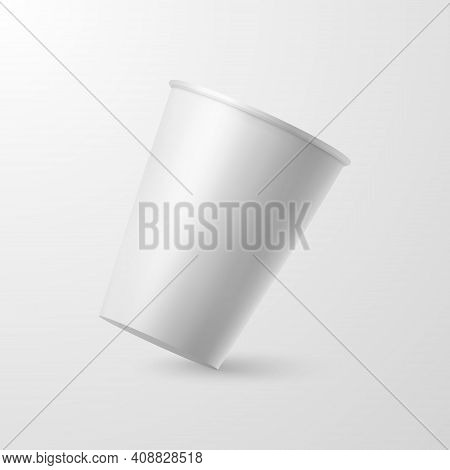 Vector 3d Realistic Paper White Disposable Falling Coffee Or Tea Cup Closeup Isolated On White Backg
