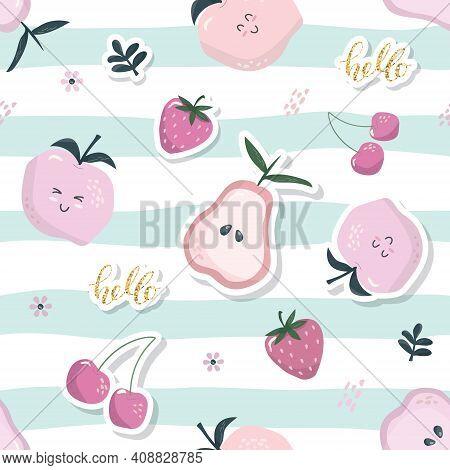 Cartoon Seamless Pattern. Summer Fruit Background. Girly. Vector