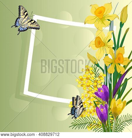 Colored Illustration With Spring Flowers.bouquet Of Daffodils, Crocuses And Mimosa In An Illustratio