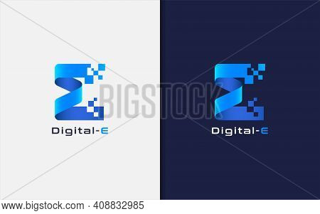 Abstract Initial Letter E Logo. Creative Blue Geometric Shape With Square Pixel Dots. Usable For Bus