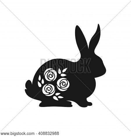 Cute Easter Black And White Bunny Silhouette. Spring Bunny With Rose Flowers Inside. Black And White