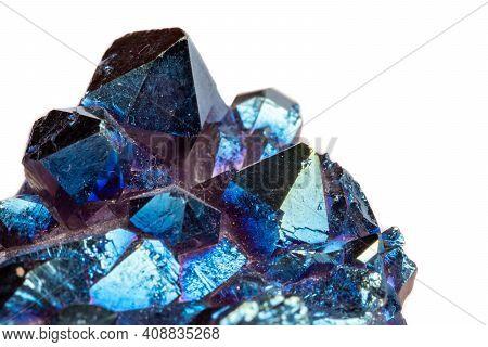 Macro Mineral Stone Titanium Quartz, Flame Aura Quartz On A White Background