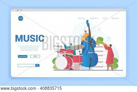 Musical Ensemble Playing Musical Instruments. Flat Cartoon Vector Illustration. Website, Webpage, La