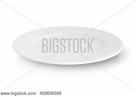 Vector 3d Realistic White Empty Porcelain, Ceramic Plate With Reflection Closeup Isolated On White B
