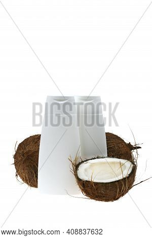 Coconut Oil. White Bottles Mockup And Coconuts Set Isolated On White Background. Organic Natural Pur