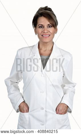 A Beautiful Woman Wearing A White Lab Coat Isolated On White Background