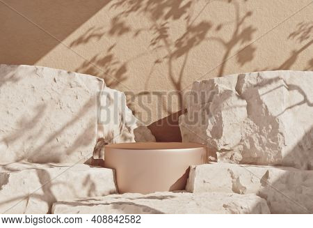 White Stone Grunge Textured Background And Product Podium. 3d Rendering For Social Media, Cosmetic P