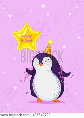 Birthday Greeting Card With Cute Dancing Penguin. Funny Bird With Balloon. Vector Cartoon Illustrati