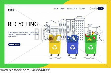 Webpage Template Vector Illustration In Flat Cartoon Style. Interface Composition. Recycling Concept