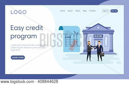 Easy Credit Program Concept Illustration In Cartoon Flat Style. Blue Background With Text. Internet