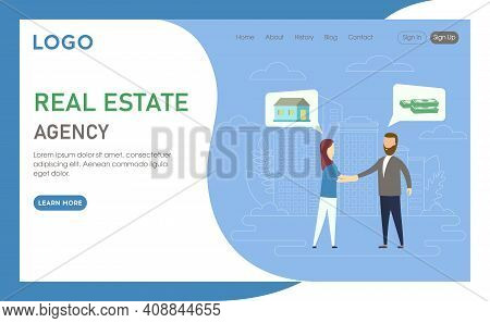 Real Estate Agency Advertisement Concept Illustration In Cartoon Flat Style. Blue Background With Te