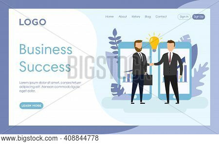 Vector Illustration. Cartoon Composition In Flat Style. Website Layout Design With Writings. Busines