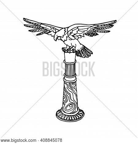 Bronze Eagle On Malachite Column, Decorative Figurine, Antique Paperweight, Museum Exhibit, Vector I