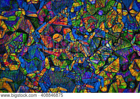 Original Abstract Figure Where The Colors Blue, Red, Yellow And Green Are Contrasted On An Intense B