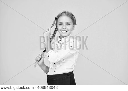 Cute Schoolgirl With Long Hair. Graduation Concept. Primary Education. Perfect Schoolgirl. Welcome B