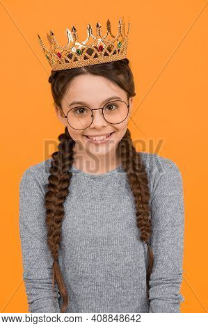 Such An Honor For Me. Little Smart Girl Wear Eyeglasses. Clever Child. Cute Adorable Girl In Glasses