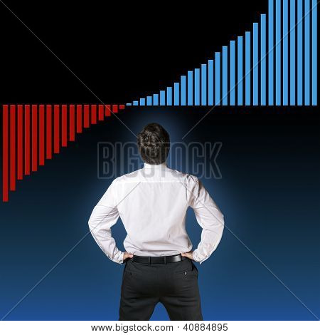 Business Man Backside With Graph