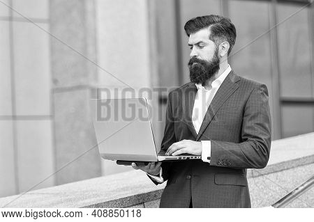 Hard Working Day. Good Internet Connection. Confident Businessman Hold Notebook. Bearded Businessman