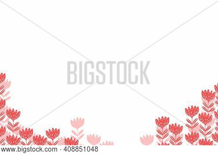 Floral Frame Based On Traditional Folk Art Ornaments On White Background. Ornate Border With Pink Fl