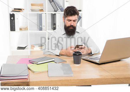 Office Job. Freelance Job. It Developer. Modern Occupation. Guy Bearded Man Brutal Web Developer. So
