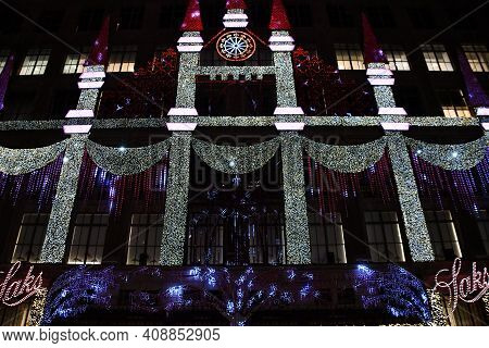 New York, Ny - Dec 26: Holiday Light Show At Saks Fifth Avenue Flagship Store In New York City, As S