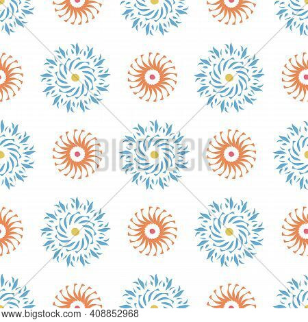 Abstract Geometric Swirl Circle Pattern. Seamless Vector Repeat Background. Geometric Textured 3d De