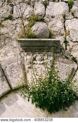 High Wall With Sculptural Raised Relief, Bas-relief In Perast, Montenegro.