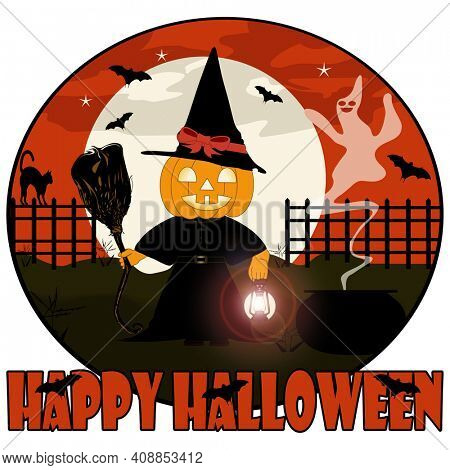 Pumpkin Witch on a Full Moon Halloween Night with Ghostly Cauldron and Bats Clipping Path over White background.