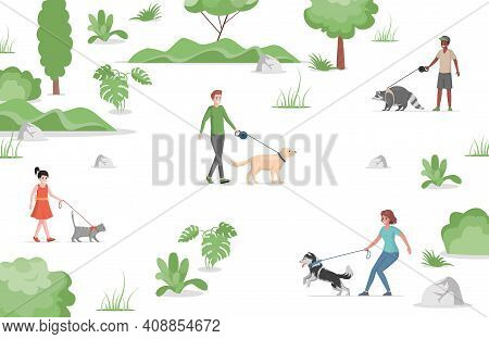People Walking In City Park With Domestic Pets Vector Flat Illustration. Girl, Woman, And Men Holdin