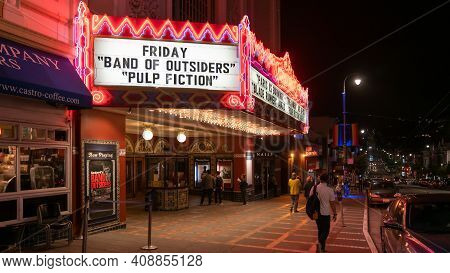 San Francisco, California, Usa - August 2019: Castro Theatre Building On Castro Street At Night
