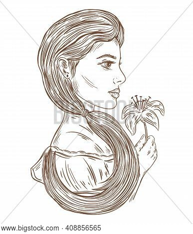 Face Profile Of Beautiful Woman Outline Fashion Illustration. Happy 8 March Women's Day. Female Port