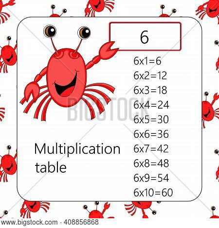 Multiplication Square. School Vector Illustration With Crab. Multiplication Table. Poster For Kids E