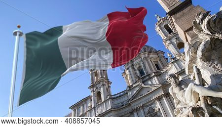 The Italian Flag Flapping With The Fountain Of The Four Rivers With The Facade Of The Church Of Sant