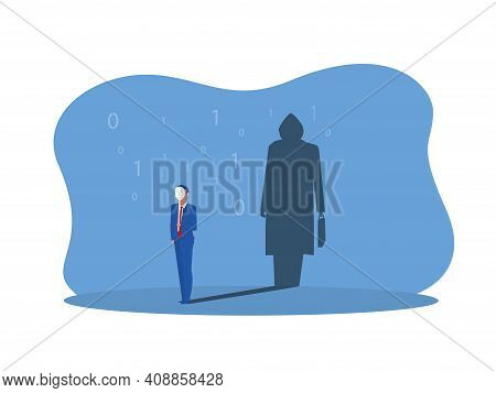 Businessman Holding Mask With Thief Shadow In Studio Concept Vector Illustrator.