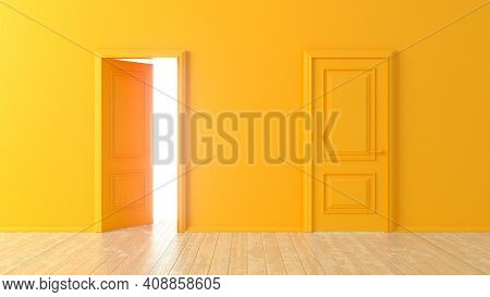 Open And Closed Orange Doors In Front Of A Room With A Wooden Floor. Isolated Empty Room. Choice, Bu