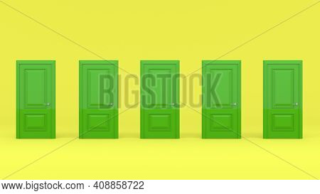 Five Closed Green Doors Isolated On Yellow Background. Creative Glamorous Minimal Style. 3D Render