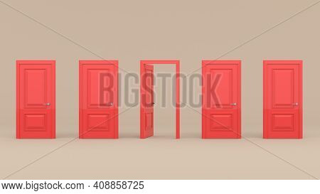 Four Closed Red Doors And One Open Door On A Pastel Brown Background. 3D Render