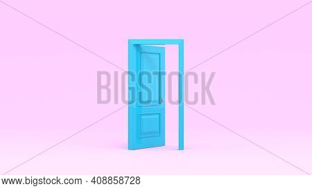 Open Turquoise Door Isolated On Pink Background. 3D Render